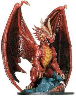 D&D Miniatures - Click to view the stats for Huge Red Dragon Miniature