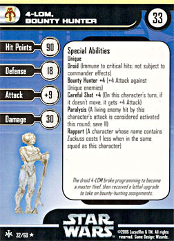 Star Wars Miniature Stat Card - 4-LOM, Bounty Hunter, #32 - Rare
