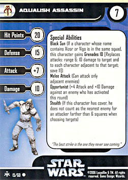 Star Wars Miniature Stat Card - Aqualish Assassin, #15 - Common