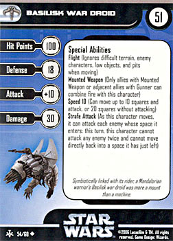 Star Wars Miniature Stat Card - Basilisk War Droid, #54 - Uncommon