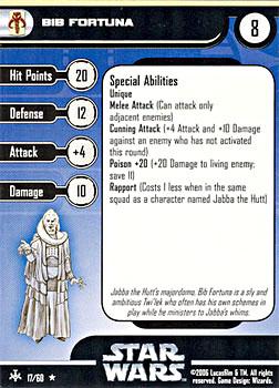 Star Wars Miniature Stat Card - Bib Fortuna, #17 - Rare