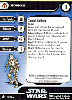 Star Wars Miniature Stat Card - BoShek, #20 - Rare
