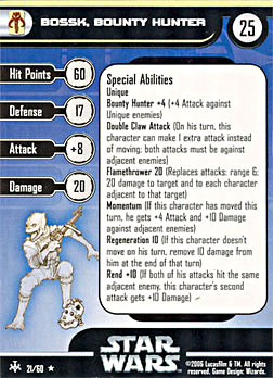 Star Wars Miniature Stat Card - Bossk, Bounty Hunter, #21 - Rare