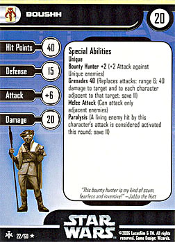 Star Wars Miniature Stat Card - Boushh, #22 - Rare