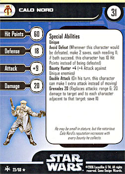 Star Wars Miniature Stat Card - Calo Nord, #23 - Rare