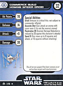 Star Wars Miniature Stat Card - Commerce Guild Homing Spider Droid, #2 - Uncommon
