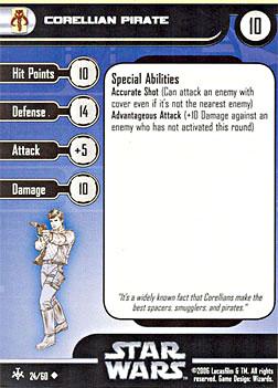 Star Wars Miniature Stat Card - Corellian Pirate, #24 - Uncommon