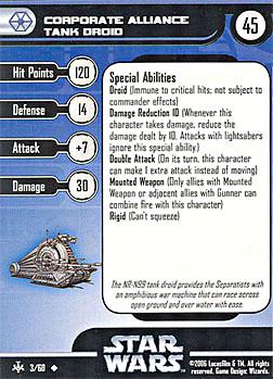 Star Wars Miniature Stat Card - Corporate Alliance Tank Droid, #3 - Uncommon