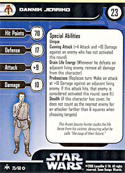 Star Wars Miniature Stat Card - Dannik Jerriko, #25 - Very Rare