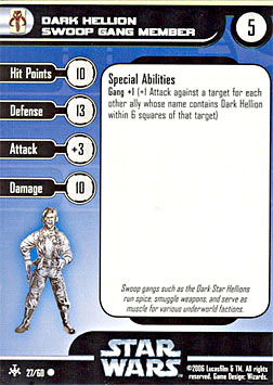 Star Wars Miniature Stat Card - Dark Hellion Swoop Gang Member, #27 - Common