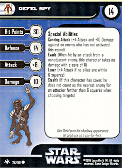 Star Wars Miniature Stat Card - Defel Spy, #28 - Common