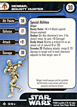 Star Wars Miniature Stat Card - Dengar, Bounty Hunter, #29 - Rare