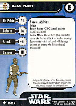 Star Wars Miniature Stat Card - Djas Puhr, #30 - Rare