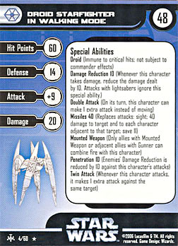 Star Wars Miniature Stat Card - Droid Starfighter in Walking Mode, #4 - Rare