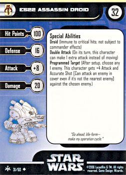 Star Wars Miniature Stat Card - E522 Assassin Droid, #31 - Uncommon