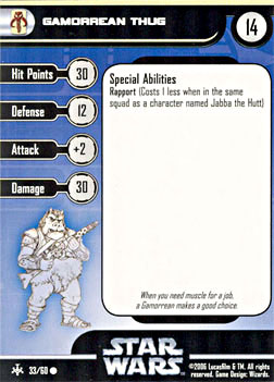 Star Wars Miniature Stat Card - Gamorrean Thug, #33 - Common