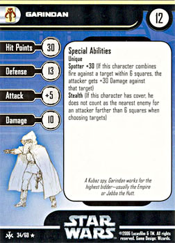 Star Wars Miniature Stat Card - Garindan, #34 - Rare