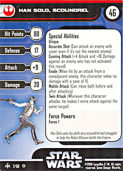 Star Wars Miniature Stat Card - Han Solo, Scoundrel, #7 - Very Rare