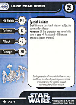 Star Wars Miniature Stat Card - Huge Crab Droid, #5 - Uncommon