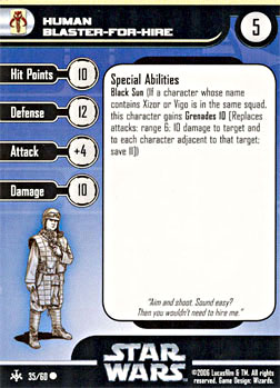Star Wars Miniature Stat Card - Human Blaster-For-Hire, #35 - Common