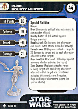 Star Wars Miniature Stat Card - IG-88, Bounty Hunter, #36 - Very Rare