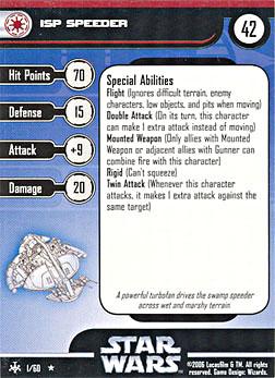 Star Wars Miniature Stat Card - ISP Speeder, #1 - Rare