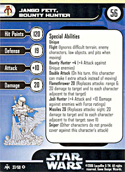 Star Wars Miniature Stat Card - Jango Fett, Bounty Hunter, #37 - Very Rare