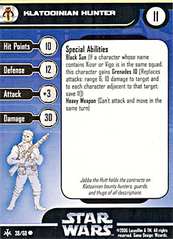 Star Wars Miniature Stat Card - Klatooinian Hunter, #38 - Common