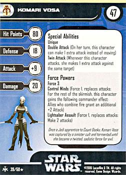 Star Wars Miniature Stat Card - Komari Vosa, #39 - Rare
