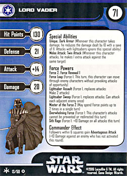 Star Wars Miniature Stat Card - Lord Vader, #13 - Very Rare