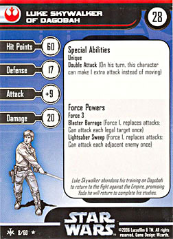 Star Wars Miniature Stat Card - Luke Skywalker of Dagobah, #8 - Rare