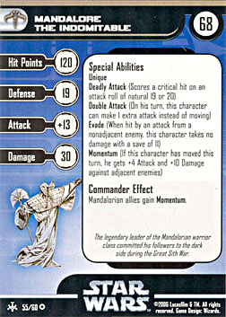 Star Wars Miniature Stat Card - Mandalore the Indomitable, #55 - Very Rare