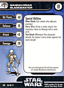 Star Wars Miniature Stat Card - Mandalorian Blademaster, #56 - Uncommon