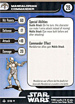 Star Wars Miniature Stat Card - Mandalorian Commander, #57 - Uncommon