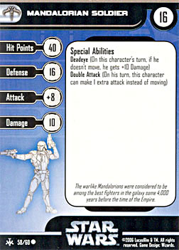 Star Wars Miniature Stat Card - Mandalorian Soldier, #58 - Common