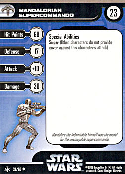 Star Wars Miniature Stat Card - Mandalorian Supercommando, #59 - Uncommon