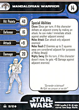Star Wars Miniature Stat Card - Mandalorian Warrior, #60 - Common