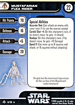 Star Wars Miniature Stat Card - Mustafarian Flea Rider, #41 - Rare
