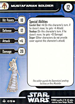 Star Wars Miniature Stat Card - Mustafarian Soldier, #42 - Common