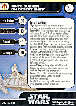 Star Wars Miniature Stat Card - Nikto Gunner on Desert Skiff, #43 - Very Rare