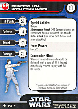 Star Wars Miniature Stat Card - Princess Leia, Hoth Commander, #9 - Rare