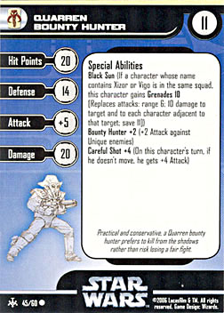 Star Wars Miniature Stat Card - Quarren Bounty Hunter, #45 - Common