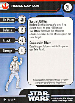 Star Wars Miniature Stat Card - Rebel Captain, #10 - Uncommon