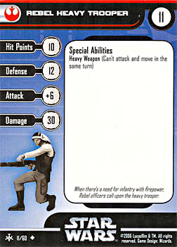 Star Wars Miniature Stat Card - Rebel Heavy Trooper, #11 - Uncommon