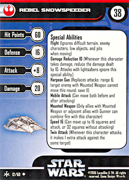 Star Wars Miniature Stat Card - Rebel Snowspeeder, #12 - Uncommon