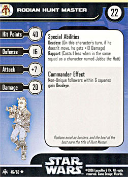 Star Wars Miniature Stat Card - Rodian Hunt Master, #46 - Uncommon