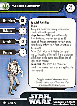 Star Wars Miniature Stat Card - Talon Karrde, #14 - Very Rare