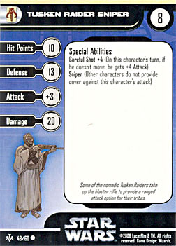 Star Wars Miniature Stat Card - Tusken Raider Sniper, #48 - Common