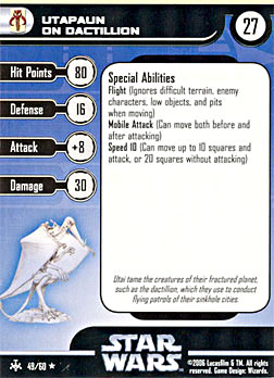 Star Wars Miniature Stat Card - Utapaun on Dactillion, #49 - Rare