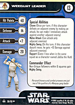 Star Wars Miniature Stat Card - Weequay Leader, #50 - Uncommon